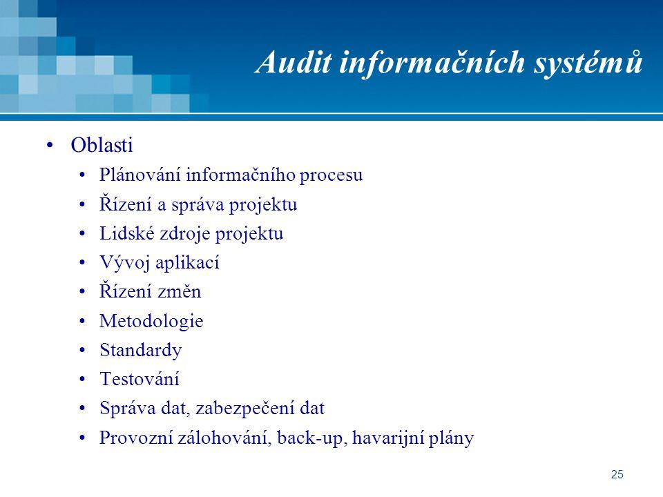 25 Audit informačních systémů Oblasti Plánování informačního procesu Řízení a správa projektu Lidské zdroje projektu Vývoj aplikací Řízení změn Metodologie Standardy Testování Správa dat, zabezpečení dat Provozní zálohování, back-up, havarijní plány