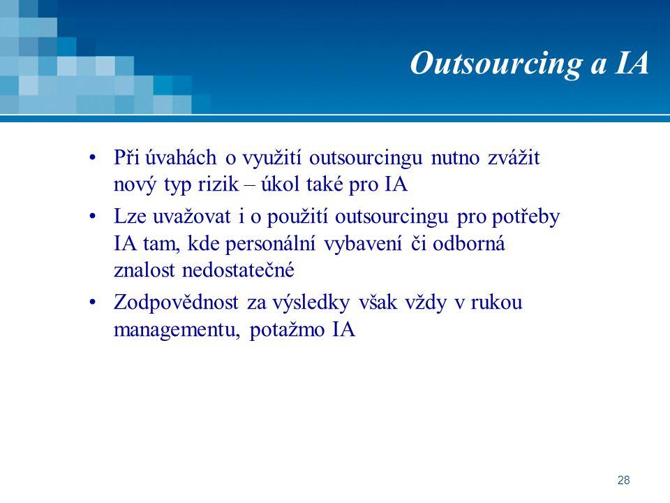 28 Outsourcing a IA Při úvahách o využití outsourcingu nutno zvážit nový typ rizik – úkol také pro IA Lze uvažovat i o použití outsourcingu pro potřeb