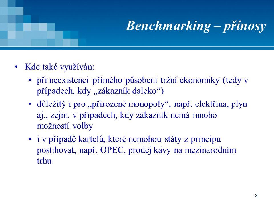 """3 Benchmarking – přínosy Kde také využíván: při neexistenci přímého působení tržní ekonomiky (tedy v případech, kdy """"zákazník daleko"""") důležitý i pro"""