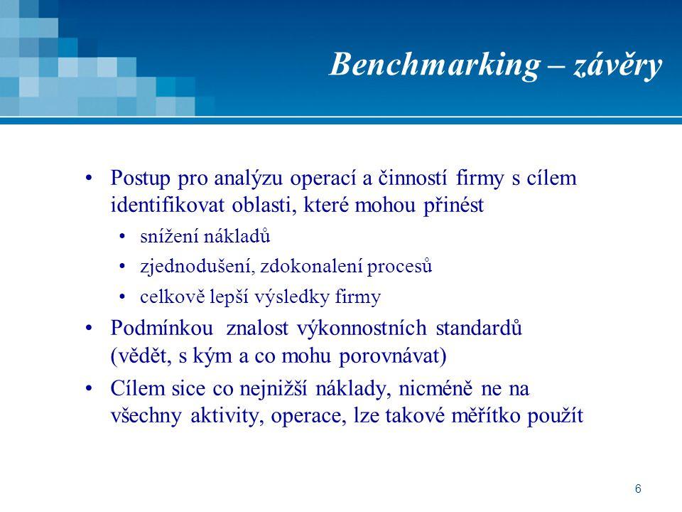 6 Benchmarking – závěry Postup pro analýzu operací a činností firmy s cílem identifikovat oblasti, které mohou přinést snížení nákladů zjednodušení, z