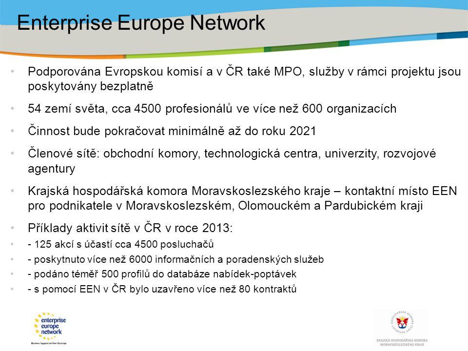 Podporována Evropskou komisí a v ČR také MPO, služby v rámci projektu jsou poskytovány bezplatně 54 zemí světa, cca 4500 profesionálů ve více než 600