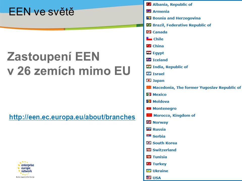 Zastoupení EEN v 26 zemích mimo EU http://een.ec.europa.eu/about/branches EEN ve světě