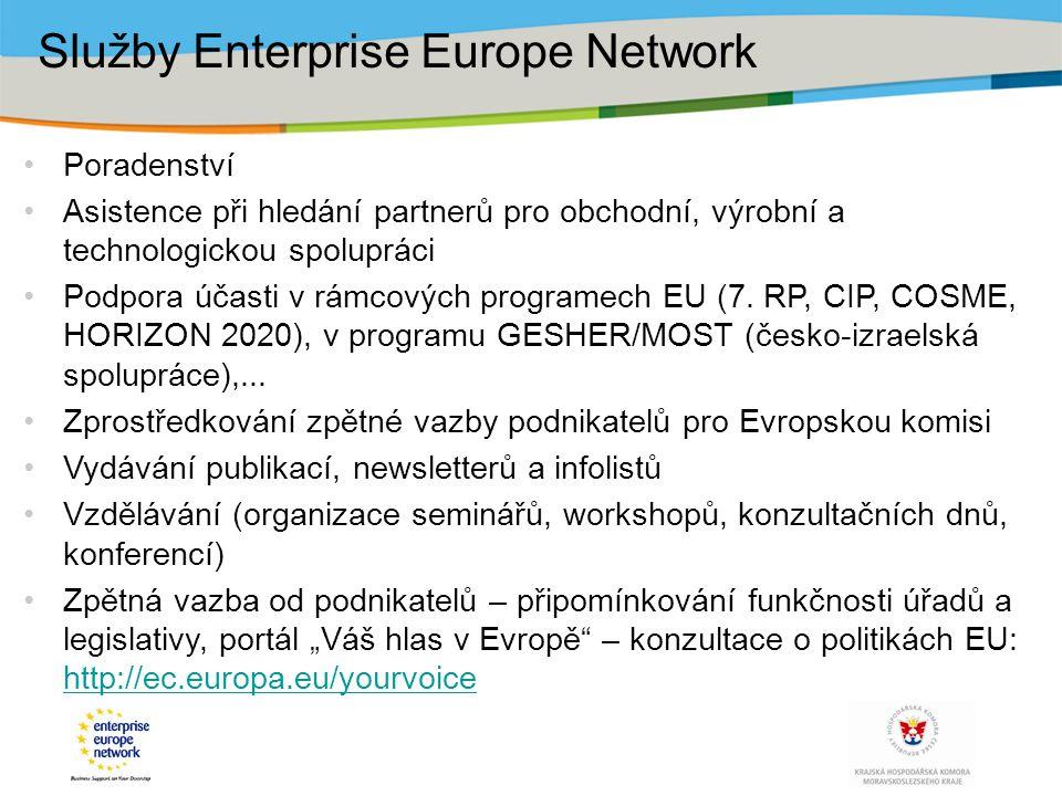 Poradenství Asistence při hledání partnerů pro obchodní, výrobní a technologickou spolupráci Podpora účasti v rámcových programech EU (7. RP, CIP, COS
