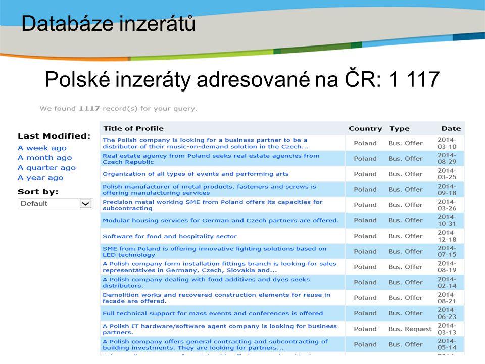 Polské inzeráty adresované na ČR: 1 117 Databáze inzerátů