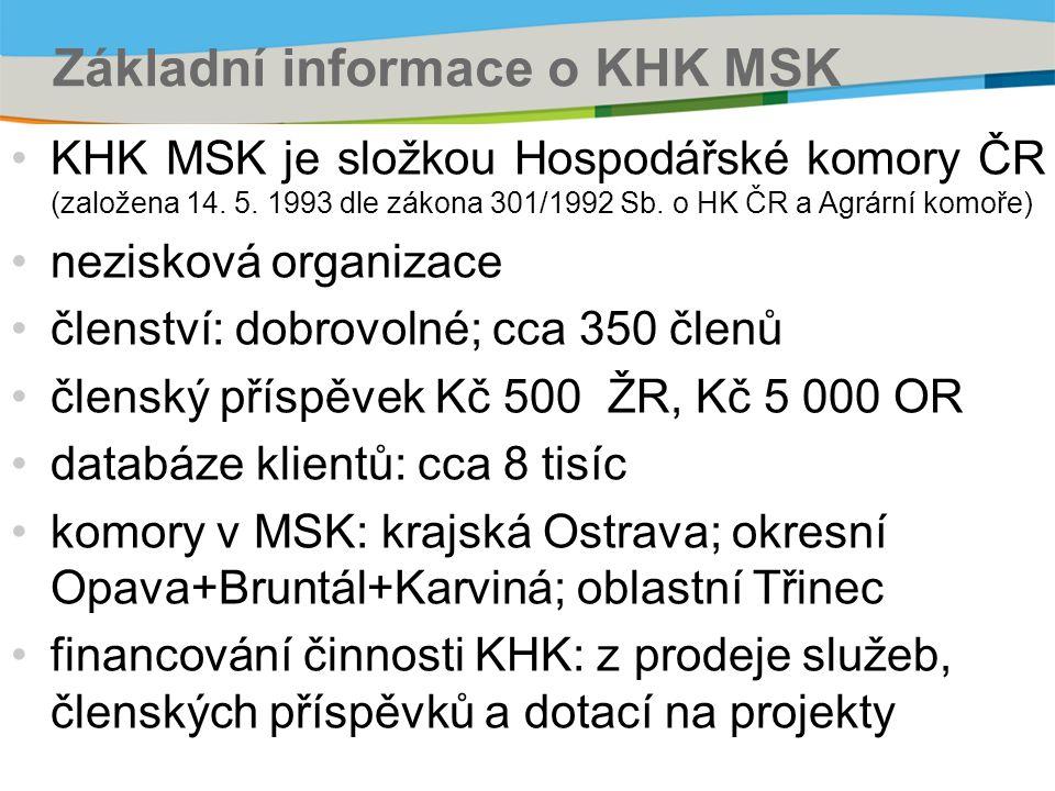 Základní informace o KHK MSK KHK MSK je složkou Hospodářské komory ČR (založena 14. 5. 1993 dle zákona 301/1992 Sb. o HK ČR a Agrární komoře) neziskov