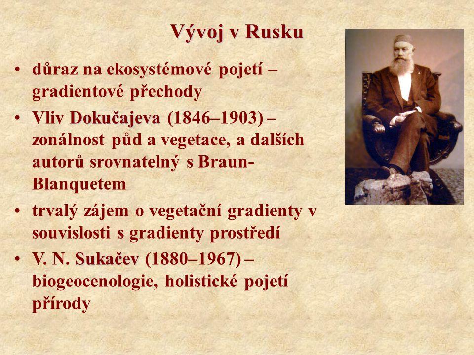 Vývoj v Rusku důraz na ekosystémové pojetí – gradientové přechody DokučajevaVliv Dokučajeva (1846–1903) – zonálnost půd a vegetace, a dalších autorů s