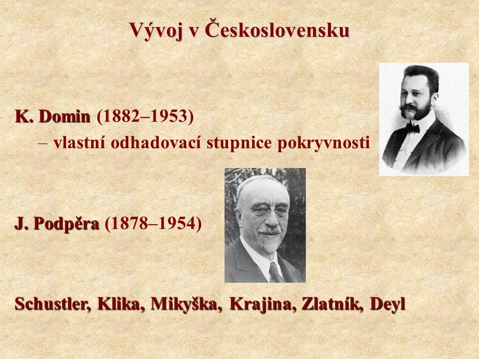 Vývoj v Československu K. Domin K. Domin (1882–1953) –vlastní odhadovací stupnice pokryvnosti J. Podpěra J. Podpěra (1878–1954) Schustler, Klika, Miky