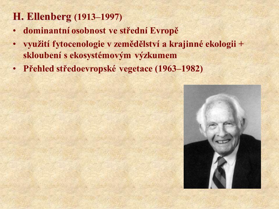 H. Ellenberg H. Ellenberg (1913–1997) dominantní osobnost ve střední Evropě využití fytocenologie v zemědělství a krajinné ekologii + skloubení s ekos