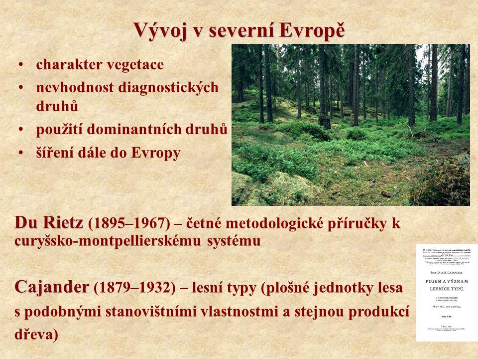 Vývoj v severní Evropě charakter vegetace nevhodnost diagnostických druhů použití dominantních druhů šíření dále do Evropy Du Rietz Du Rietz (1895–196