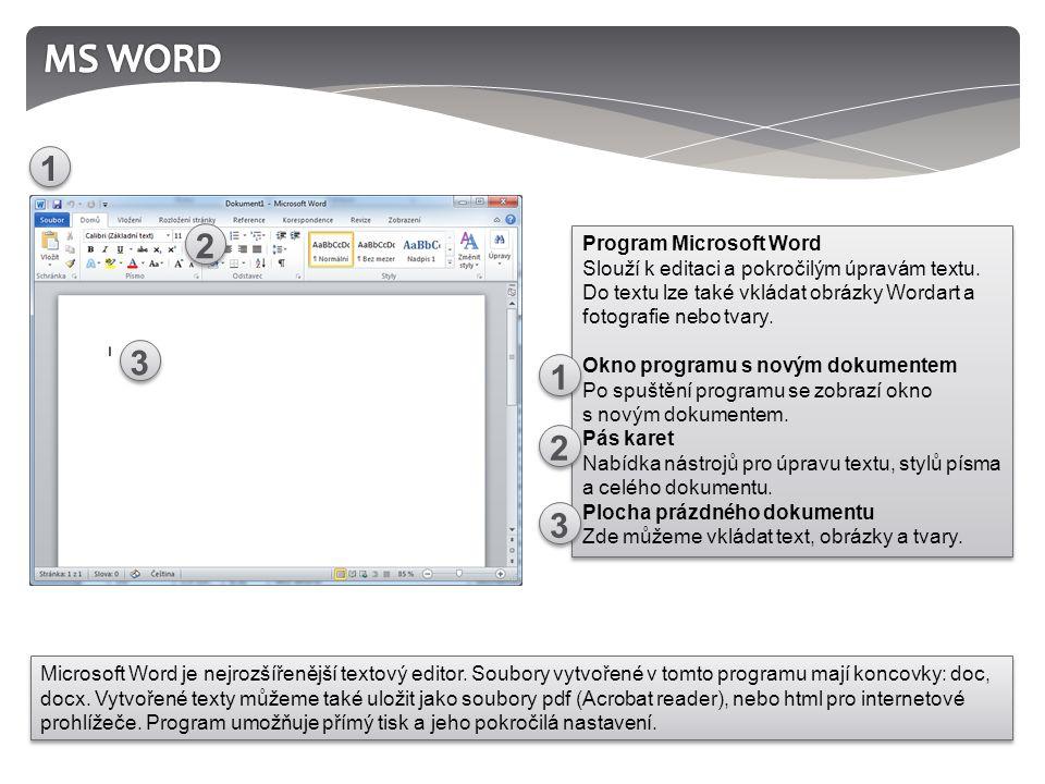 Program Microsoft Word Slouží k editaci a pokročilým úpravám textu.