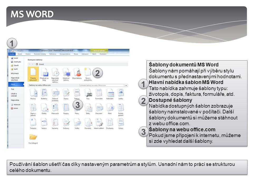Šablony dokumentů MS Word Šablony nám pomáhají při výběru stylu dokumentu s přednastavenými hodnotami.