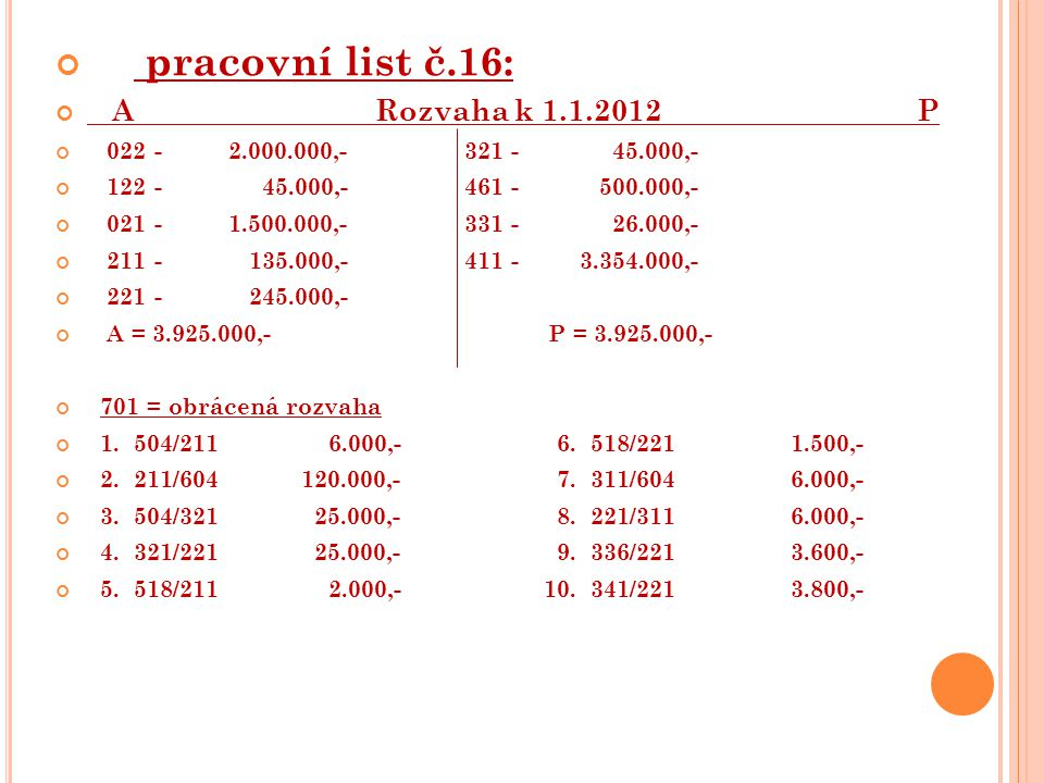 pracovní list č.16: A Rozvaha k 1.1.2012 P 022 - 2.000.000,- 321 - 45.000,- 122 - 45.000,- 461 - 500.000,- 021 - 1.500.000,- 331 - 26.000,- 211 - 135.000,- 411 - 3.354.000,- 221 - 245.000,- A = 3.925.000,- P = 3.925.000,- 701 = obrácená rozvaha 1.