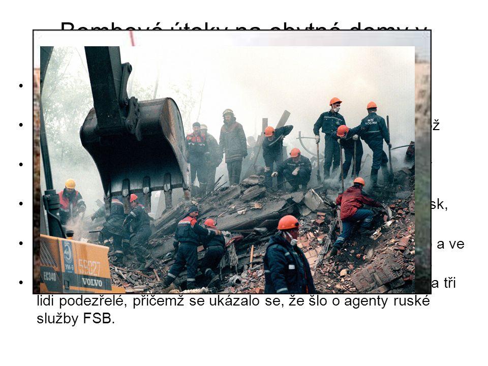 Bombové útoky na obytné domy v Rusku 1.útok 4. září 1999 ve městě Bujnaksk v Dagestánu, blízko čečenských hranic 9. září o půlnoci došlo k druhému úto