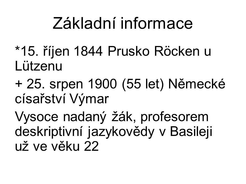 Základní informace *15. říjen 1844 Prusko Röcken u Lützenu + 25. srpen 1900 (55 let) Německé císařství Výmar Vysoce nadaný žák, profesorem deskriptivn