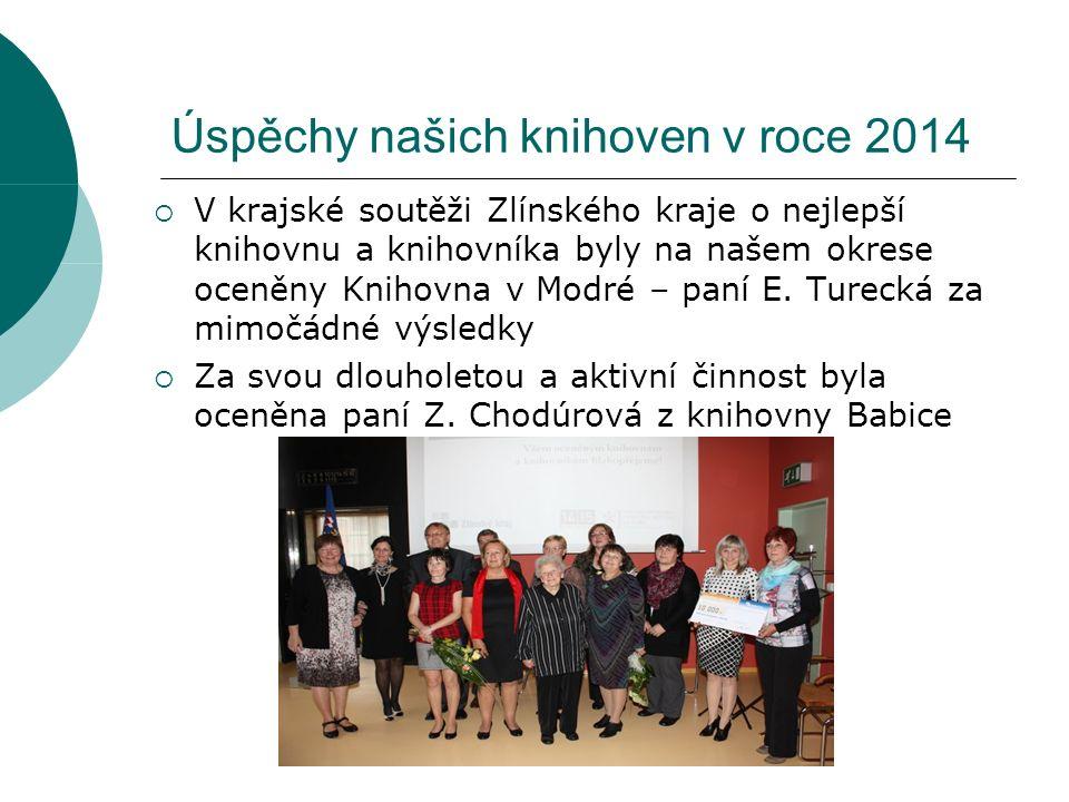 Úspěchy našich knihoven v roce 2014  V krajské soutěži Zlínského kraje o nejlepší knihovnu a knihovníka byly na našem okrese oceněny Knihovna v Modré – paní E.