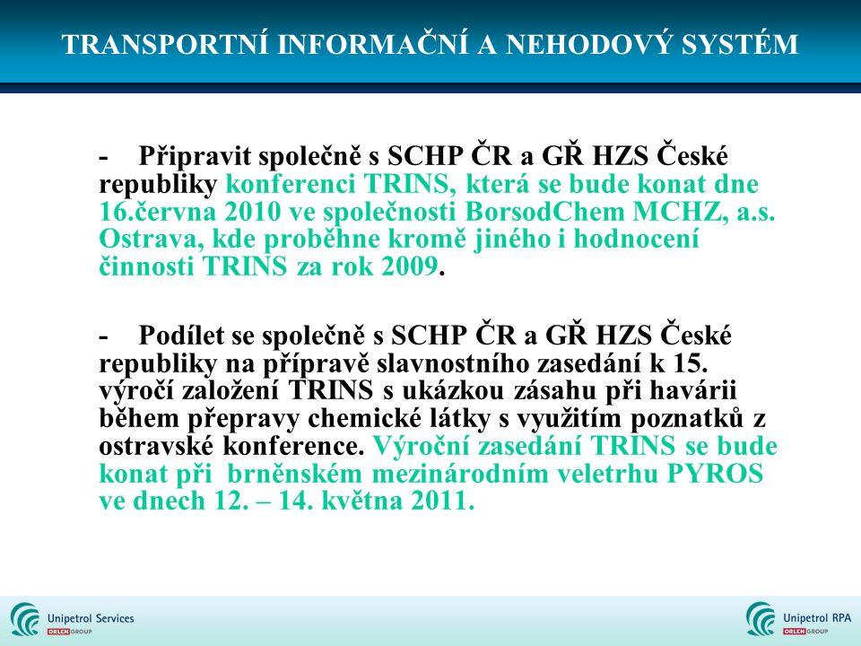 TRANSPORTNÍ INFORMAČNÍ A NEHODOVÝ SYSTÉM -Připravit společně s SCHP ČR a GŘ HZS České republiky konferenci TRINS, která se bude konat dne 16.června 20