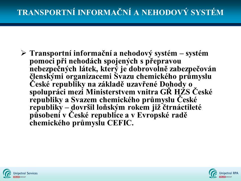 TRANSPORTNÍ INFORMAČNÍ A NEHODOVÝ SYSTÉM  Transportní informační a nehodový systém – systém pomoci při nehodách spojených s přepravou nebezpečných lá