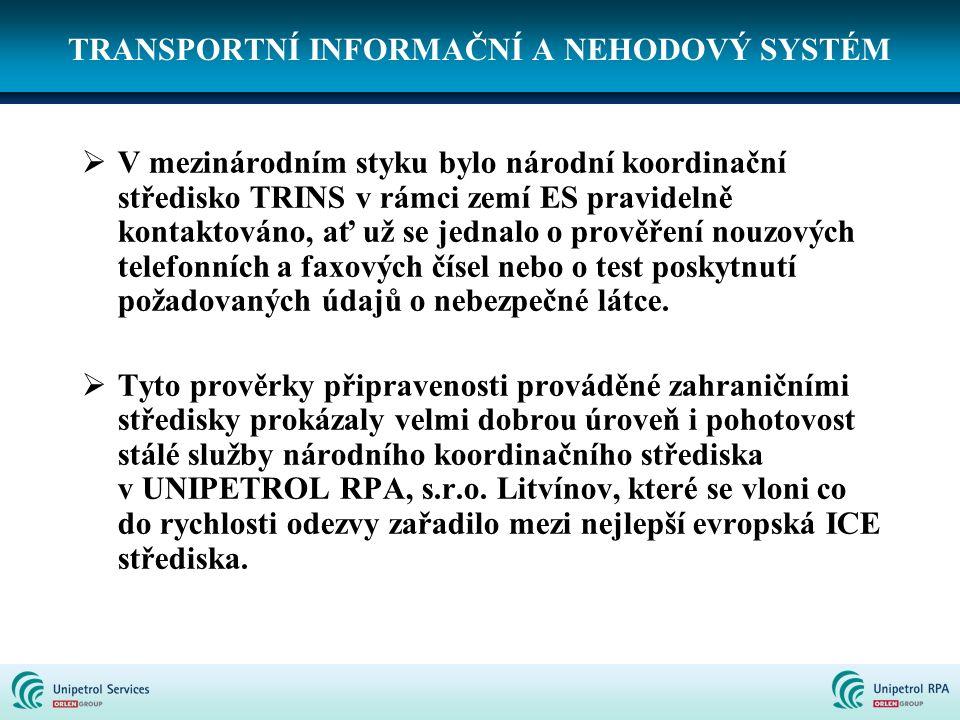 TRANSPORTNÍ INFORMAČNÍ A NEHODOVÝ SYSTÉM  V mezinárodním styku bylo národní koordinační středisko TRINS v rámci zemí ES pravidelně kontaktováno, ať u
