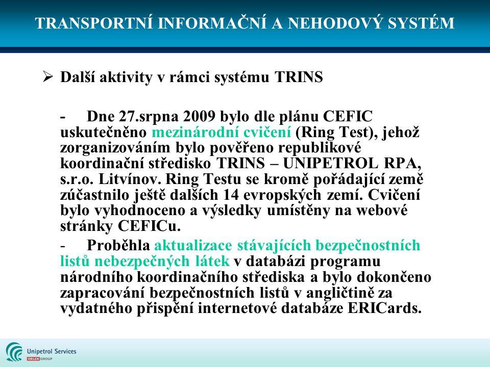 TRANSPORTNÍ INFORMAČNÍ A NEHODOVÝ SYSTÉM  Další aktivity v rámci systému TRINS - Dne 27.srpna 2009 bylo dle plánu CEFIC uskutečněno mezinárodní cviče