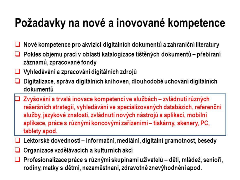 Požadavky na nové a inovované kompetence  Nové kompetence pro akvizici digitálních dokumentů a zahraniční literatury  Pokles objemu prací v oblasti katalogizace tištěných dokumentů – přebírání záznamů, zpracované fondy  Vyhledávání a zpracování digitálních zdrojů  Digitalizace, správa digitálních knihoven, dlouhodobé uchování digitálních dokumentů  Zvyšování a trvalá inovace kompetencí ve službách – zvládnutí různých rešeršních strategií, vyhledávání ve specializovaných databázích, referenční služby, jazykové znalosti, zvládnutí nových nástrojů a aplikací, mobilní aplikace, práce s různými koncovými zařízeními – tiskárny, skenery, PC, tablety apod.