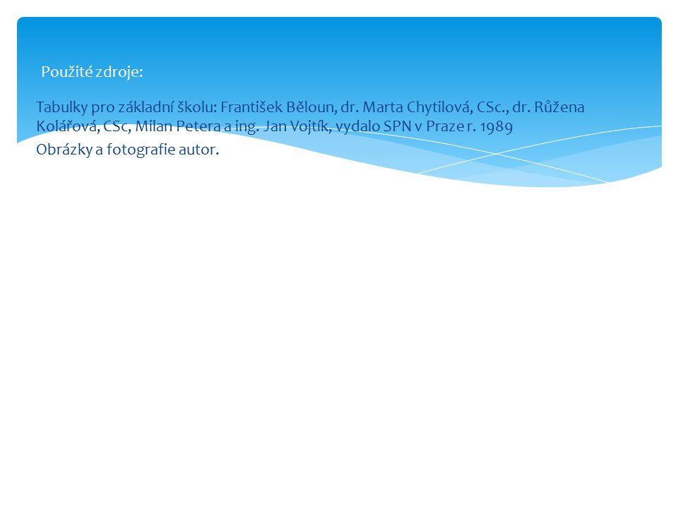 Tabulky pro základní školu: František Běloun, dr. Marta Chytilová, CSc., dr. Růžena Kolářová, CSc, Milan Petera a ing. Jan Vojtík, vydalo SPN v Praze