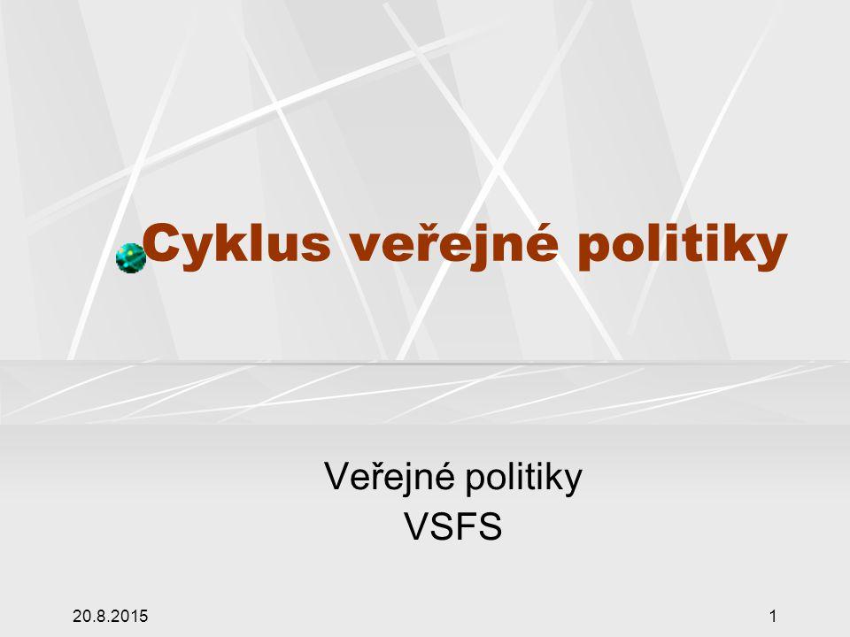 20.8.20151 Cyklus veřejné politiky Veřejné politiky VSFS