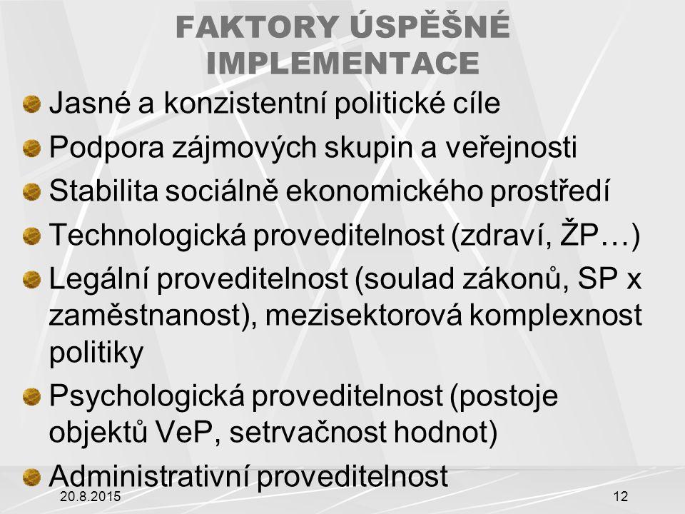 FAKTORY ÚSPĚŠNÉ IMPLEMENTACE Jasné a konzistentní politické cíle Podpora zájmových skupin a veřejnosti Stabilita sociálně ekonomického prostředí Technologická proveditelnost (zdraví, ŽP…) Legální proveditelnost (soulad zákonů, SP x zaměstnanost), mezisektorová komplexnost politiky Psychologická proveditelnost (postoje objektů VeP, setrvačnost hodnot) Administrativní proveditelnost 20.8.201512