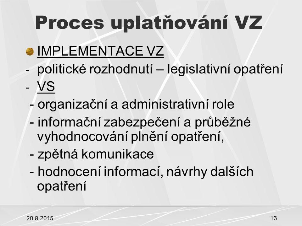 20.8.201513 Proces uplatňování VZ IMPLEMENTACE VZ - politické rozhodnutí – legislativní opatření - VS - organizační a administrativní role - informační zabezpečení a průběžné vyhodnocování plnění opatření, - zpětná komunikace - hodnocení informací, návrhy dalších opatření