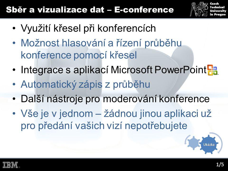 Sběr a vizualizace dat – E-conference 1/5 Využití křesel při konferencích Možnost hlasování a řízení průběhu konference pomocí křesel Integrace s aplikací Microsoft PowerPoint Automatický zápis z průběhu Další nástroje pro moderování konference Vše je v jednom – žádnou jinou aplikaci už pro předání vašich vizí nepotřebujete