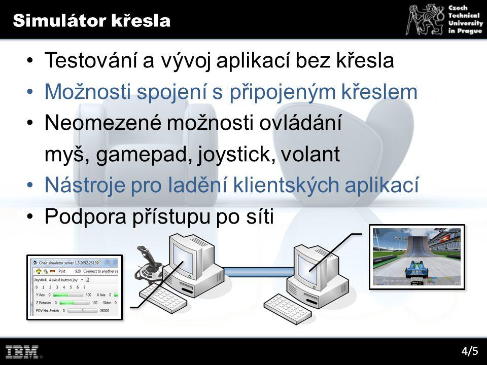 Simulátor křesla 4/5 Testování a vývoj aplikací bez křesla Možnosti spojení s připojeným křeslem Neomezené možnosti ovládání myš, gamepad, joystick, volant Nástroje pro ladění klientských aplikací Podpora přístupu po síti