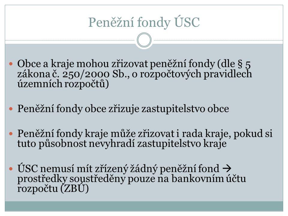 Peněžní fondy ÚSC Obce a kraje mohou zřizovat peněžní fondy (dle § 5 zákona č. 250/2000 Sb., o rozpočtových pravidlech územních rozpočtů) Peněžní fond