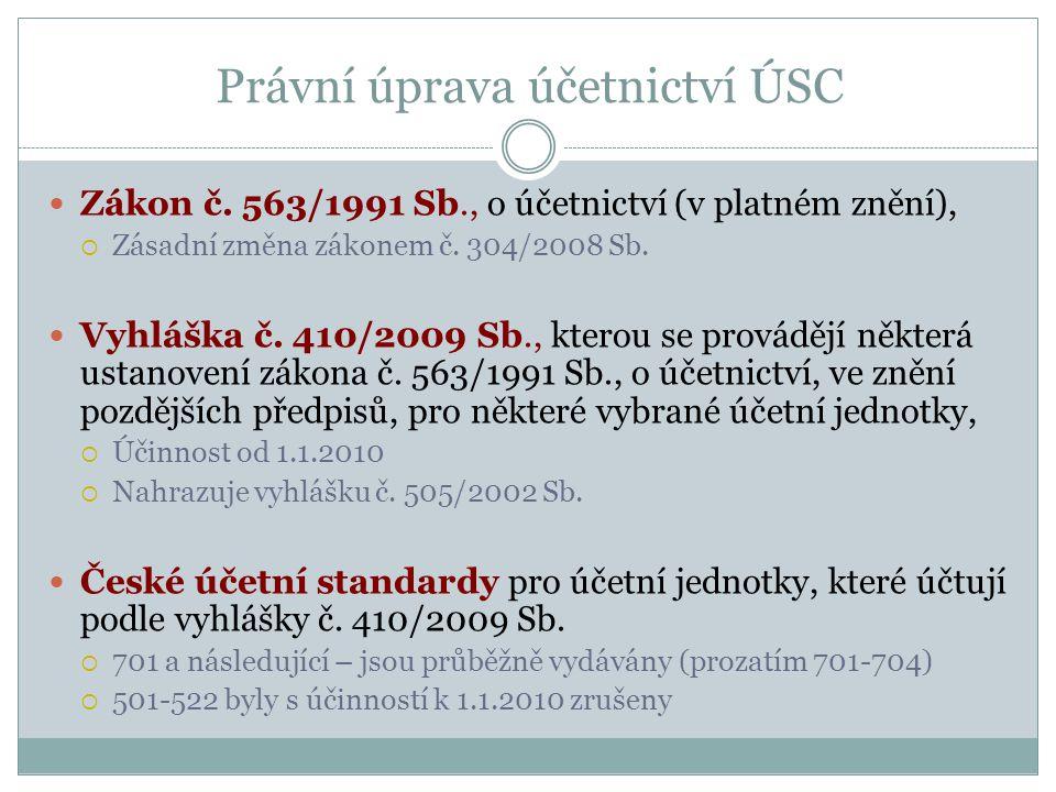 Právní úprava účetnictví ÚSC Zákon č. 563/1991 Sb., o účetnictví (v platném znění),  Zásadní změna zákonem č. 304/2008 Sb. Vyhláška č. 410/2009 Sb.,