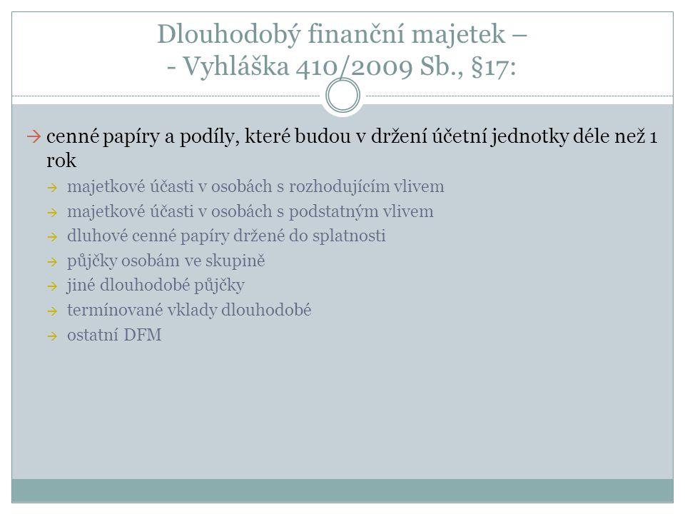 Dlouhodobý finanční majetek – - Vyhláška 410/2009 Sb., §17:  cenné papíry a podíly, které budou v držení účetní jednotky déle než 1 rok  majetkové ú