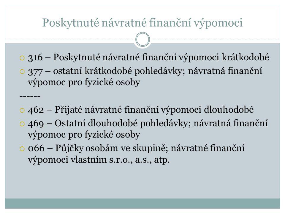 Poskytnuté návratné finanční výpomoci  316 – Poskytnuté návratné finanční výpomoci krátkodobé  377 – ostatní krátkodobé pohledávky; návratná finančn