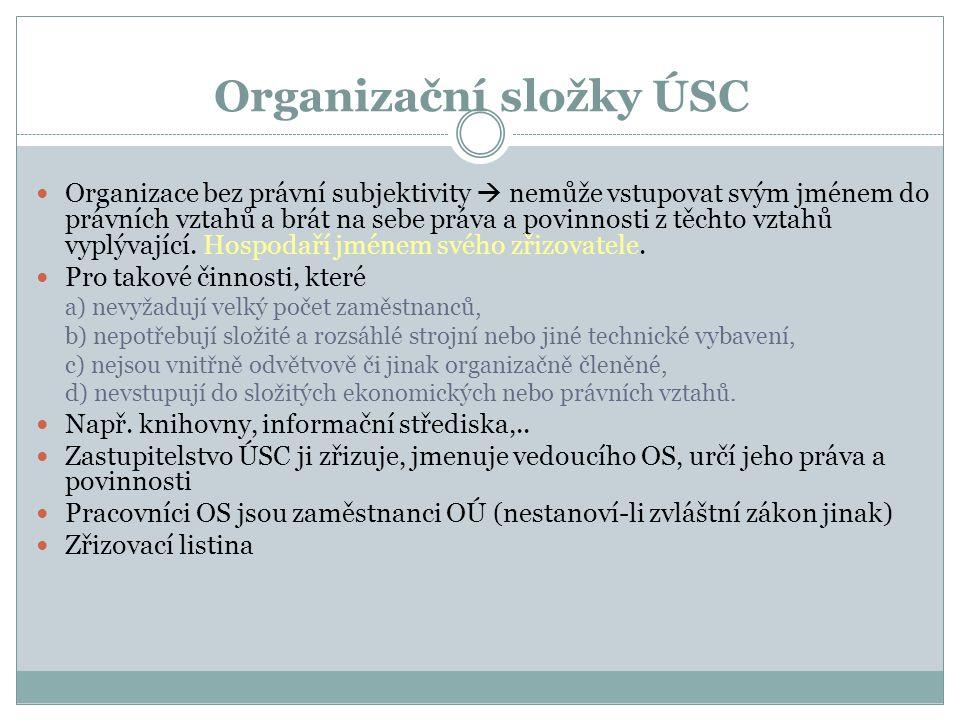 Organizační složky ÚSC Organizace bez právní subjektivity  nemůže vstupovat svým jménem do právních vztahů a brát na sebe práva a povinnosti z těchto