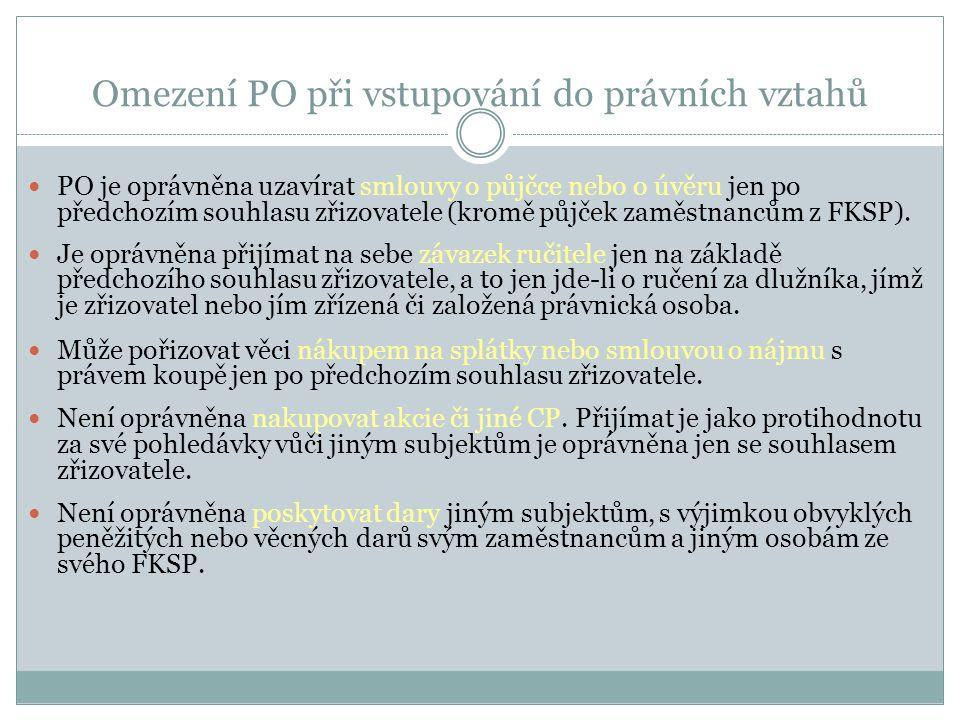 Omezení PO při vstupování do právních vztahů PO je oprávněna uzavírat smlouvy o půjčce nebo o úvěru jen po předchozím souhlasu zřizovatele (kromě půjč