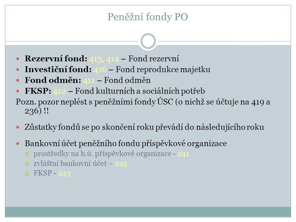 Peněžní fondy PO Rezervní fond: 413, 414 – Fond rezervní Investiční fond: 416 – Fond reprodukce majetku Fond odměn: 411 – Fond odměn FKSP: 412 – Fond