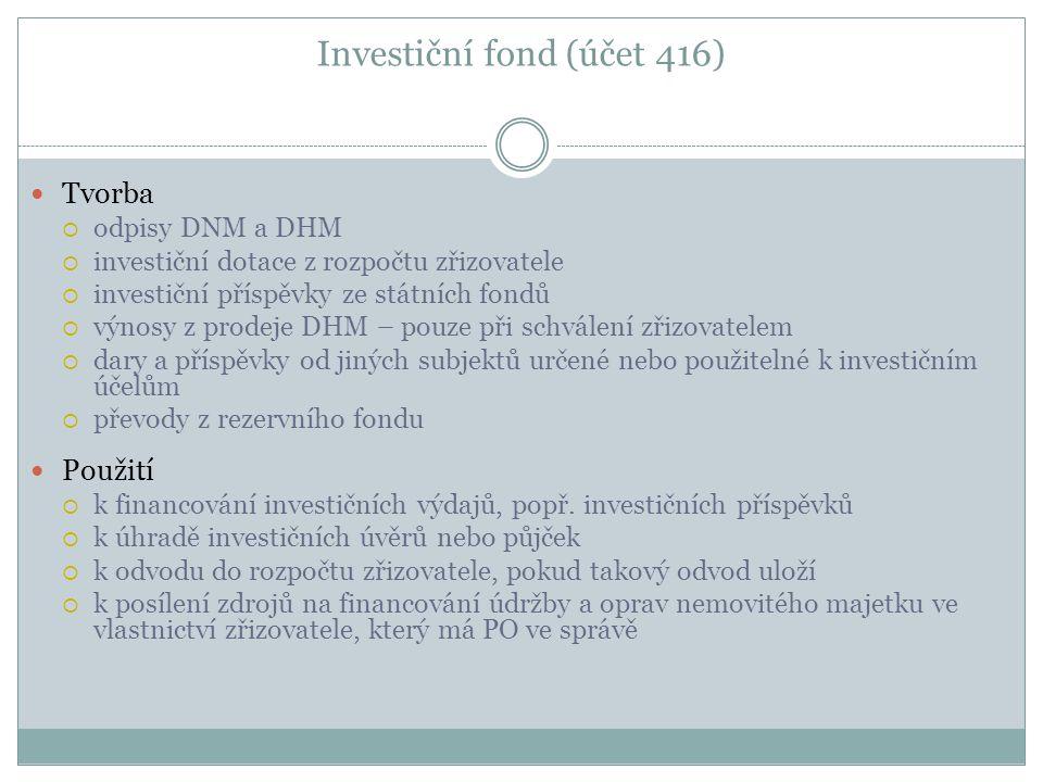 Investiční fond (účet 416) Tvorba  odpisy DNM a DHM  investiční dotace z rozpočtu zřizovatele  investiční příspěvky ze státních fondů  výnosy z pr