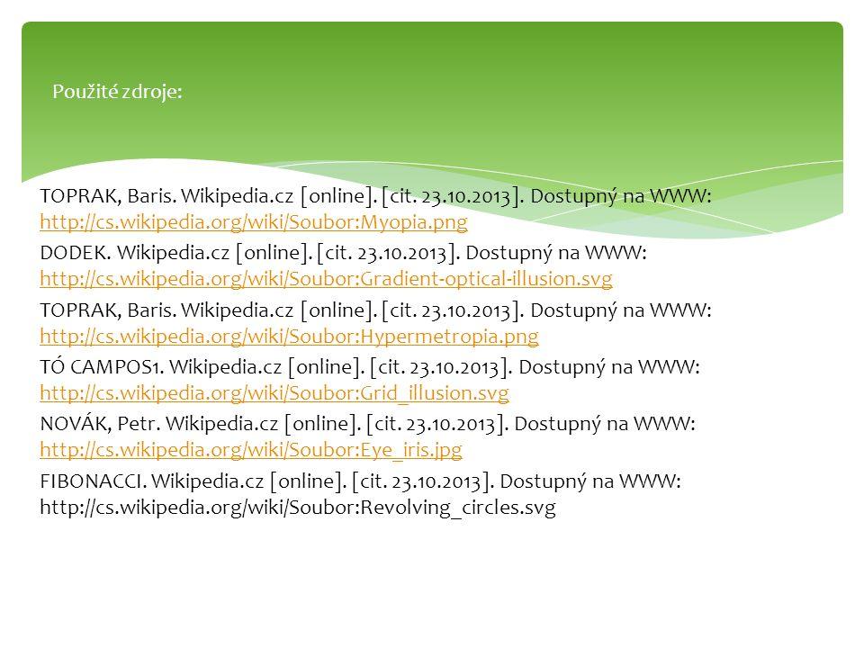 TOPRAK, Baris. Wikipedia.cz [online]. [cit. 23.10.2013]. Dostupný na WWW: http://cs.wikipedia.org/wiki/Soubor:Myopia.png http://cs.wikipedia.org/wiki/