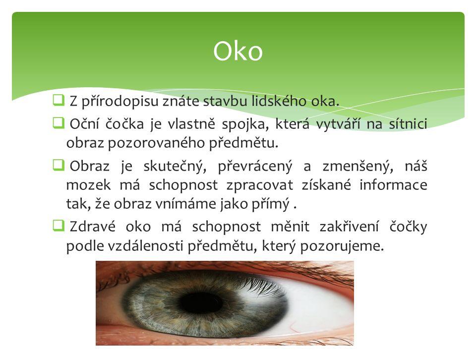  Z přírodopisu znáte stavbu lidského oka.  Oční čočka je vlastně spojka, která vytváří na sítnici obraz pozorovaného předmětu.  Obraz je skutečný,
