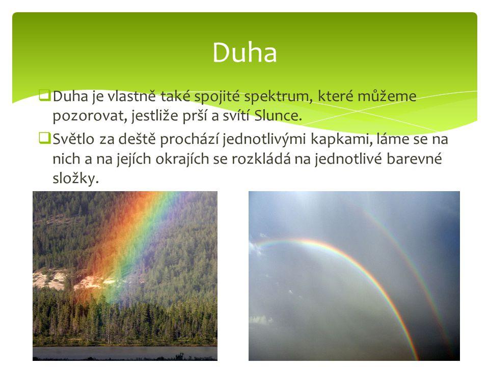  Duha je vlastně také spojité spektrum, které můžeme pozorovat, jestliže prší a svítí Slunce.
