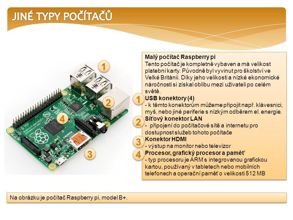 Malý počítač Raspberry pi Tento počítač je kompletně vybaven a má velikost platební karty.