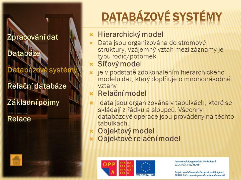  Hierarchický model  Data jsou organizována do stromové struktury. Vzájemný vztah mezi záznamy je typu rodič/potomek  Síťový model  je v podstatě