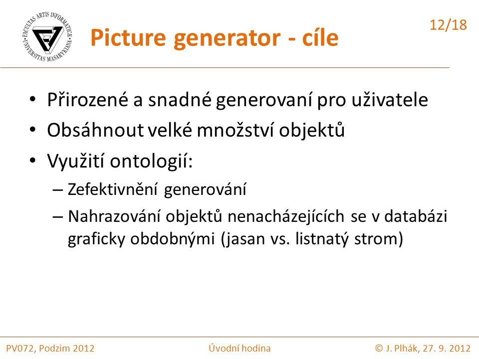 Přirozené a snadné generovaní pro uživatele Obsáhnout velké množství objektů Využití ontologií: – Zefektivnění generování – Nahrazování objektů nenacházejících se v databázi graficky obdobnými (jasan vs.