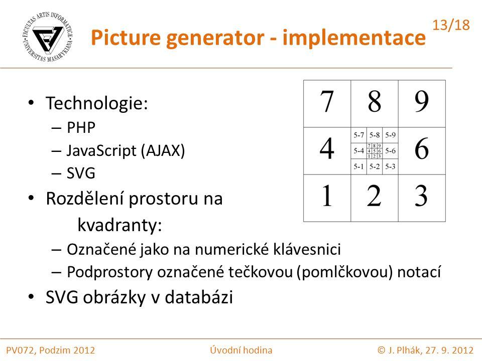 Technologie: – PHP – JavaScript (AJAX) – SVG Rozdělení prostoru na kvadranty: – Označené jako na numerické klávesnici – Podprostory označené tečkovou (pomlčkovou) notací SVG obrázky v databázi © J.