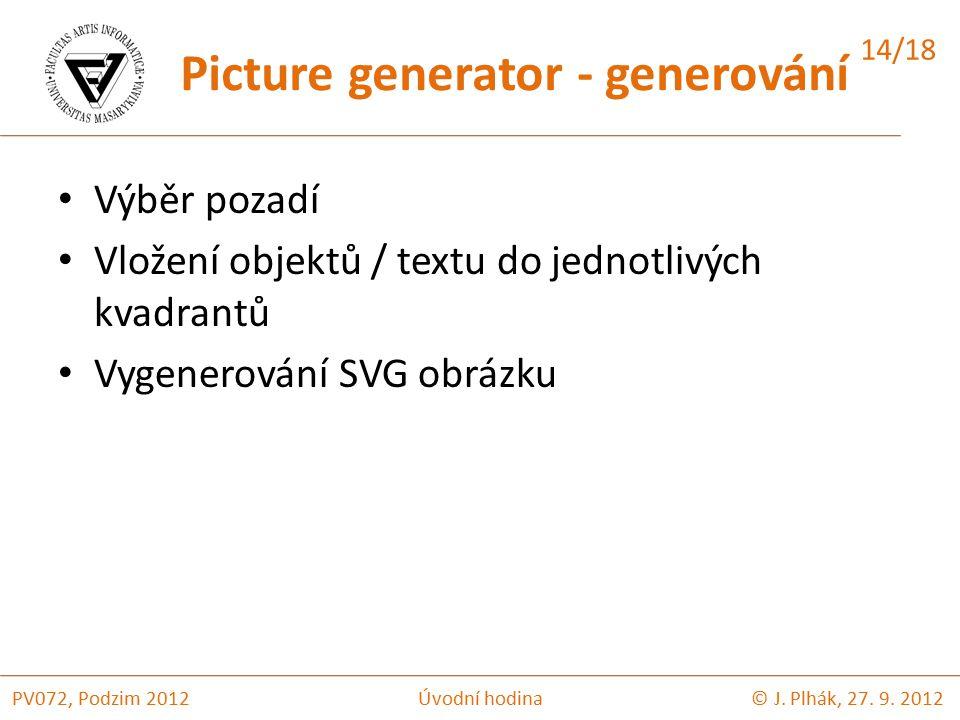 Výběr pozadí Vložení objektů / textu do jednotlivých kvadrantů Vygenerování SVG obrázku © J.