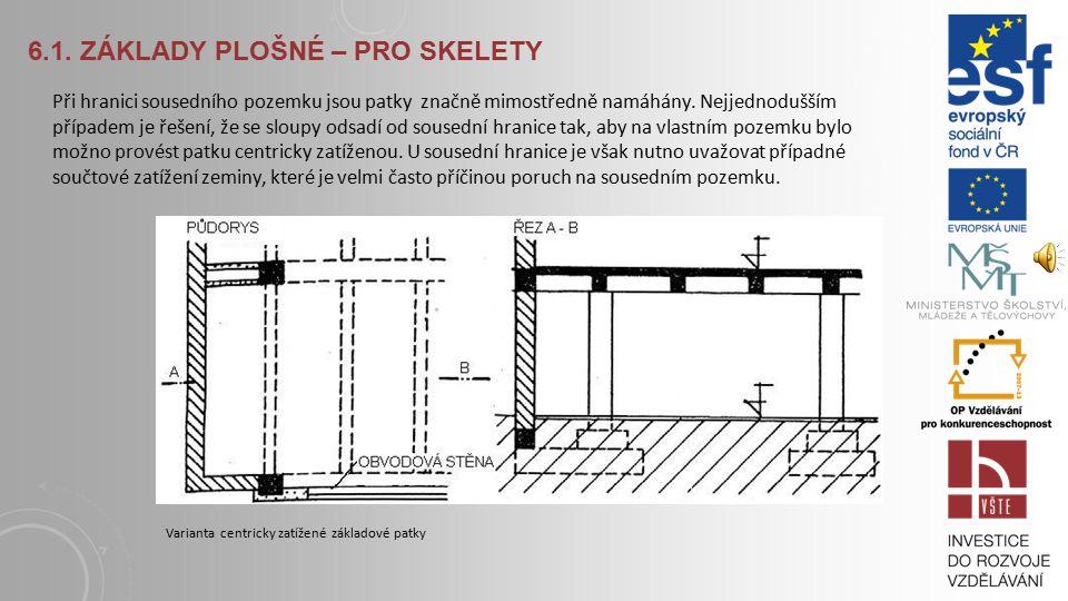 6.1. ZÁKLADY PLOŠNÉ – PRO SKELETY Při menším rozměru (a≤2 m) jsou výhodné patky z prostého betonu, dvoustupňová patka se lépe izoluje. Při mimostředné