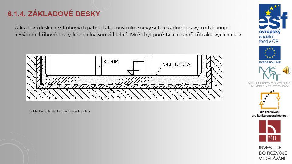 6.1.4.ZÁKLADOVÉ DESKY Hřibová konstrukce je obrácený hřibový strop.