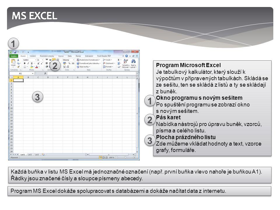 Program Microsoft Excel Je tabulkový kalkulátor, který slouží k výpočtům v připravených tabulkách.