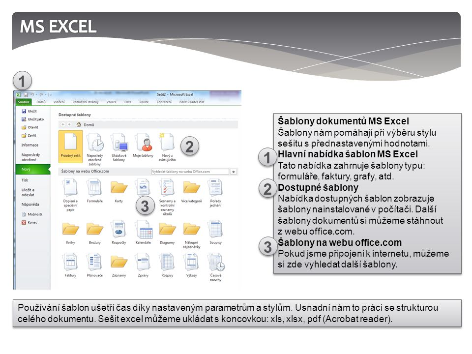 1.K čemu slouží program MS Excel. 2. Co je to šablona sešitu.